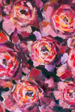 Red violet flowers rose peony close-up oil painting. Abstract hand painted flower background for design wedding invitations, save date cards, fabric, wallpaper, scrapbook - 191069072
