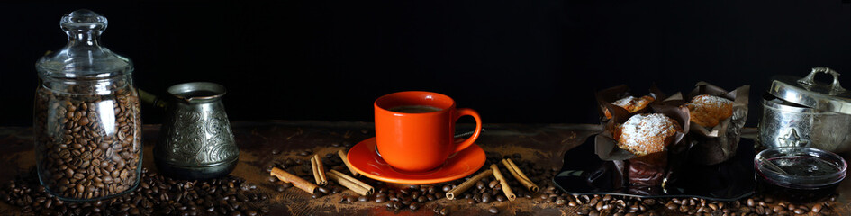 Panorama with a Cup of coffee, cinnamon and muffins © parsadanov