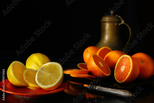 Still life with fruit and antique jug