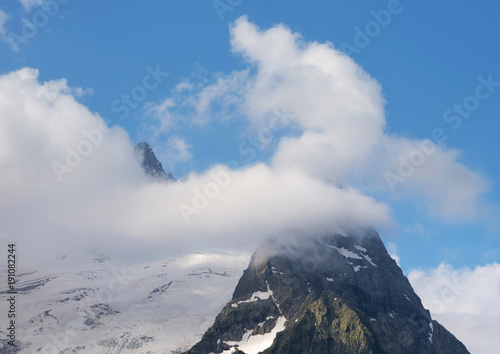 High peak in the caucasus mountains. Beautiful natural landscape in the mountains