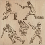 Cricket sport collection. Cricketers. An  hand drawn vector pack. - 191083079