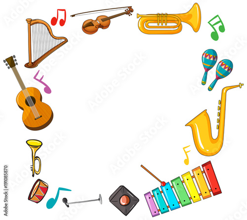 Poster Kids Border template with musical instruments