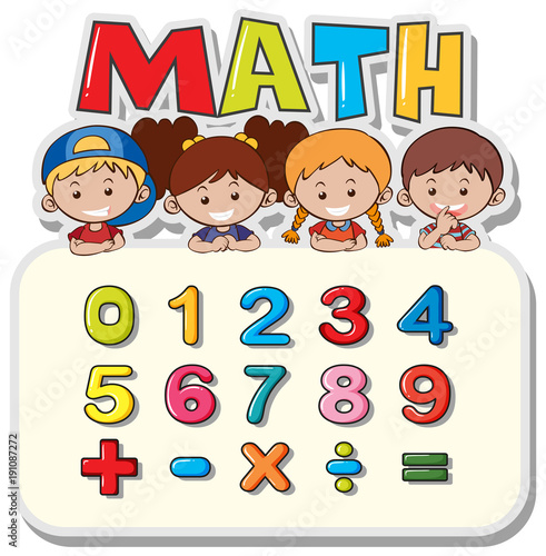 Keuken foto achterwand Kids Math worksheet with kids and numbers