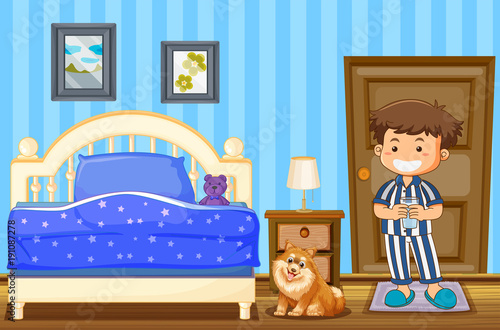 Poster Kids Boy and dog in blue bedroom
