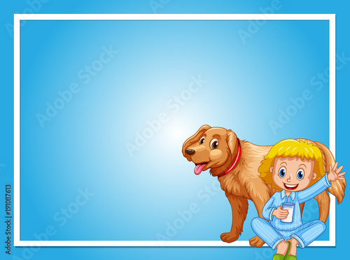 Poster Kids Frame design with girl and dog