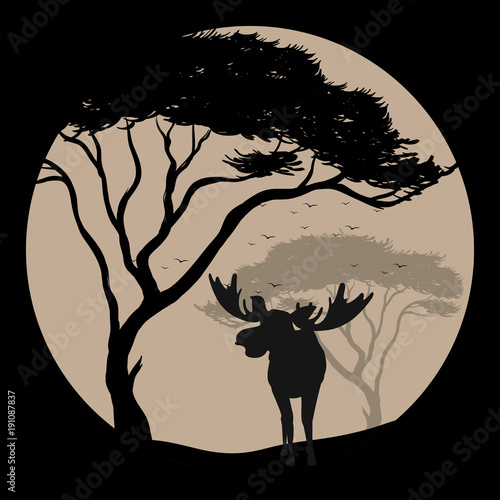 Poster Kids Silhouette scene with moose at fullmoon night