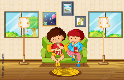 Poster Kids Living room scene with two boys eating snack