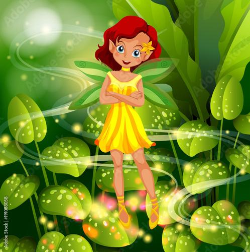 Fotobehang Kids Yellow fairy flying in garden