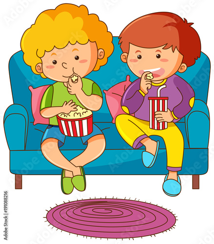 Poster Kids Two boys eating snack and drinking soda on sofa
