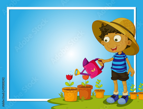 Poster Kids Border template with boy watering flowers