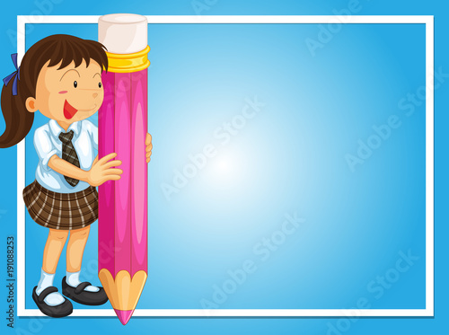 Poster Kids Frame design with girl and giant pencil