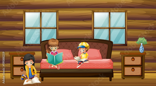 Poster Kids Three kids reading books in bedroom