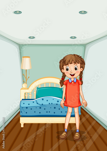 Poster Kids Girl standing in bedroom with blue bed