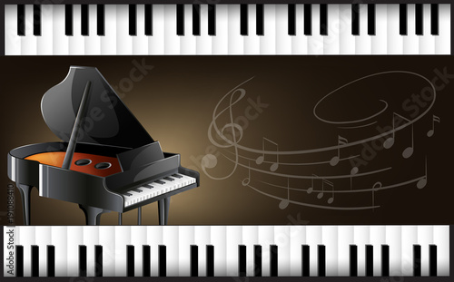 Poster Kids Grand piano with keyboards and musicnotes
