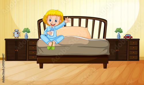 Keuken foto achterwand Kids Little girl drinking milk in bedroom