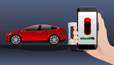 Hand with phone on a background of electric car charging point. On a divice screen indicator of power reserve. Vector illustration - 191088869