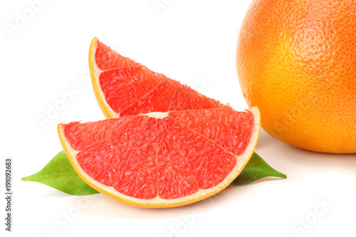 healthy food. grapefruit with green leaf isolated on white background