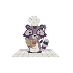 vector illustration with cartoon style raccoon