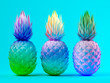 Multicolor pineapples on blue background 3D rendering - 191100053