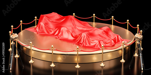 Fotobehang F1 Presentation of racing car concept, podium with bolide covered red cloth. 3D rendering