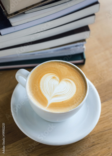 Cappuchino and book. Concept and idea of study and relax