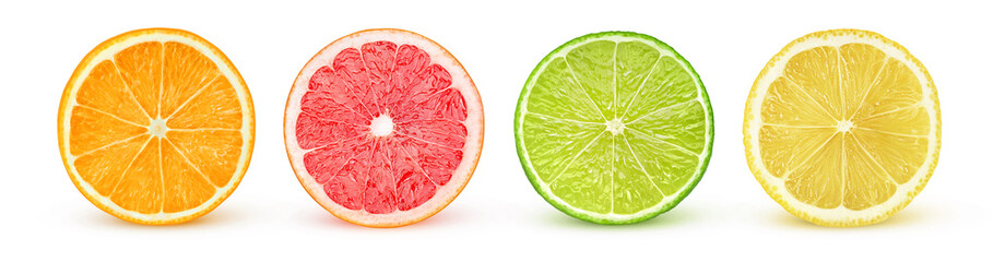 Isolated citrus slices. Fresh fruits cut in half (orange, pink grapefruit, lime, lemon) in a row isolated on white background with clipping path © Anna Kucherova