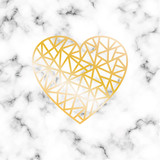 Vector marble background with gilden geometric heart