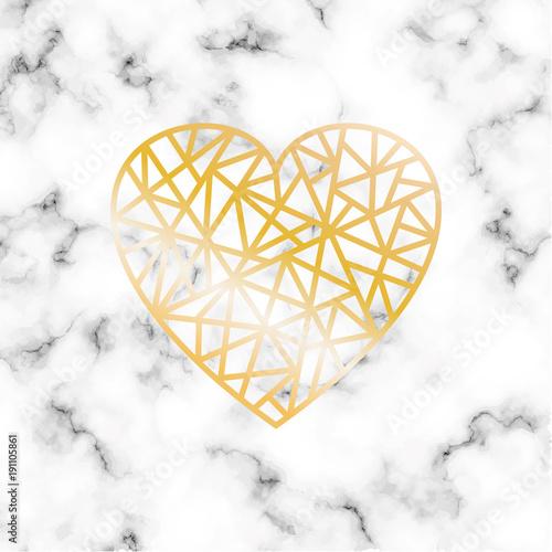 Wektorowy marmurowy tło z gilden geometrycznym sercem