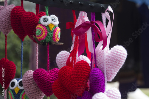 Foto op Canvas Buenos Aires Hearts and birds Crochet street market Buenos Aires Argentina South America