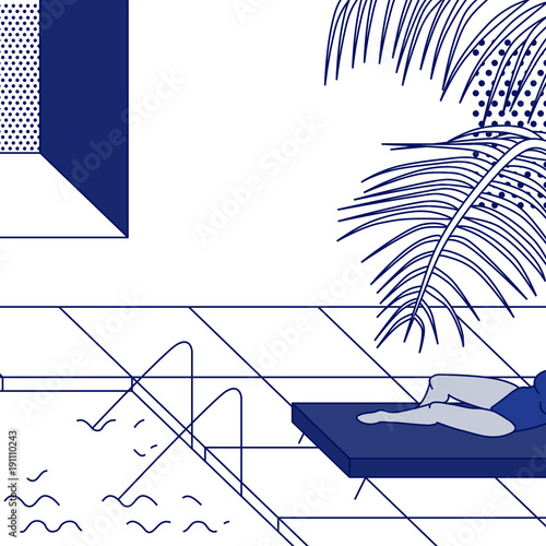 Tropic pool scene with woman in swimsuit. Vector illustration. - 191110243