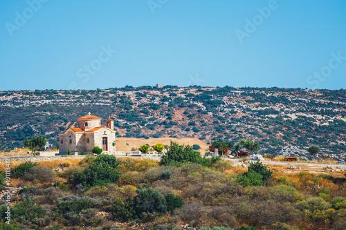 Foto op Aluminium Blauw Mountain landscape with small church on Crete Island, Greece