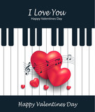 Heart piano greeting card music Valentines day vector - 191119454