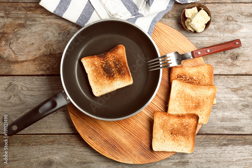 Toasted bread on kitchen table
