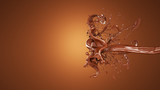 A splash of chocolate. 3d illustration, 3d rendering.