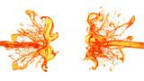 A splash of orange juice. 3d illustration, 3d rendering.