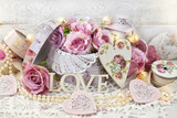 romantic love decoration in shabby chic style for wedding or valentines