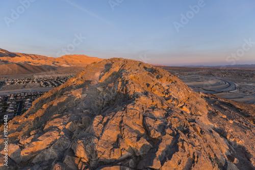 Deurstickers Las Vegas Sunrise light on Lone Mountain peak in northwest Las Vegas Nevada.
