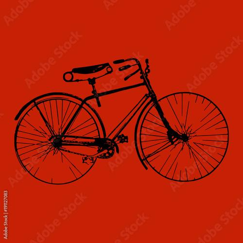 rysunek,-czarny-rower,-czerwone-tlo,-plakat