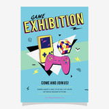 90s Game Exhibition Memphis Style Poster, card or invitation  - 191130650
