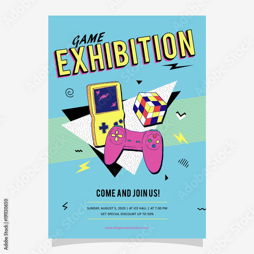 90s Game Exhibition Memphis Style Poster, card or invitation