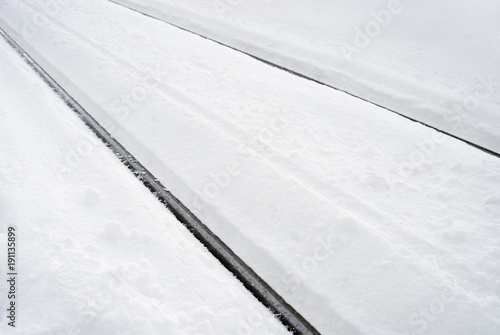 Fotobehang Spoorlijn 冬 雪 線路 素材