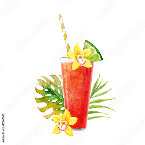 Watercolor smoothie illustration - 191140060