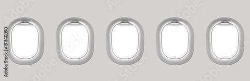 Blank white airplane windows - 191140090