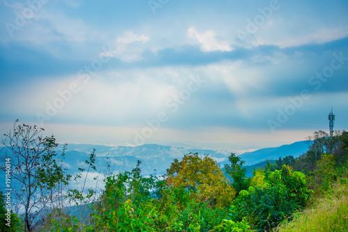 Fotobehang Blauw Mountain Mist, thailand