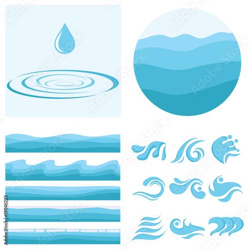 A wave, a drop of water, a set of waves. Texture of water. © dvolkovkir1980
