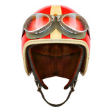 Retro helmet with goggles on a white background. Protective headwear for motorcycle and automobile race. - 191149640