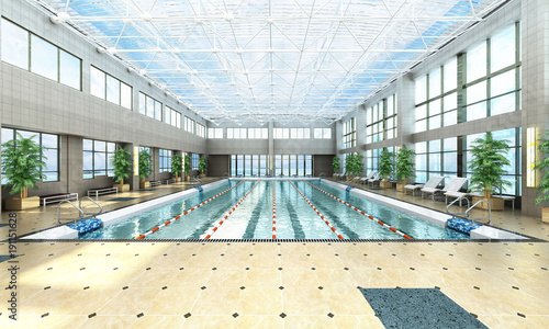 swimming pool interior 3d render image