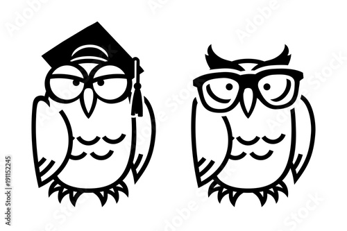 Fotobehang Uilen cartoon Funny owls, hand drawn vector illustration in comic style, isolated on white.