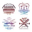 Bright barber shop emblems - men haircute salon labels design