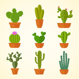 Cactus decorative home plant in pots flat vector icons - 191153445